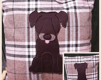 chocolate Labrador - brown tartan Cushion with a tail