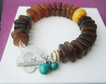 Statement bracelet Chunky horn bracelet Geometric jewelry Horn jewelry Turquoise bracelet Amber bracelet OOAK bracelet Statement jewelry