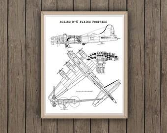 "B-17 Flying Fortress Blueprint, Instant Download, Boeing B-17 Wall Art, B-17 Wall Decor, Flying Fortress blue print, 8x10"", 11x14"""