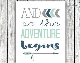 Printable Nursery Art, Nursery Wall Art, Arrows, And so the Adventure Begins, Navy, Mint, Digital download #523