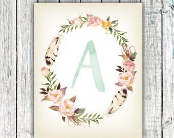 Nursery Art Monogram, Baby Girl, Nursery Wall Art , Floral, Personalized, Digital Download Size 8x10 #7