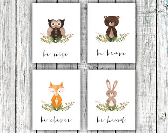 Nursery Art Printables, Woodland Nursery, Be clever Be brave Be kind Be wise, Set of 4 8x10s #558