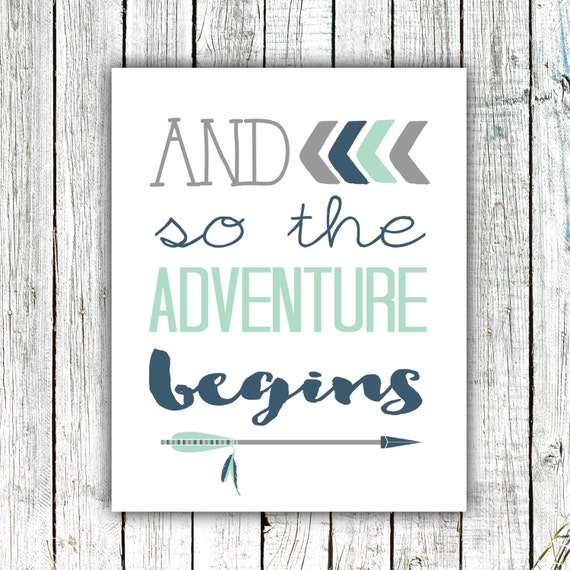 Printable Nursery Art, Nursery Wall Art, Arrows, And so the Adventure Begins, Navy, Mint, Digital download #523