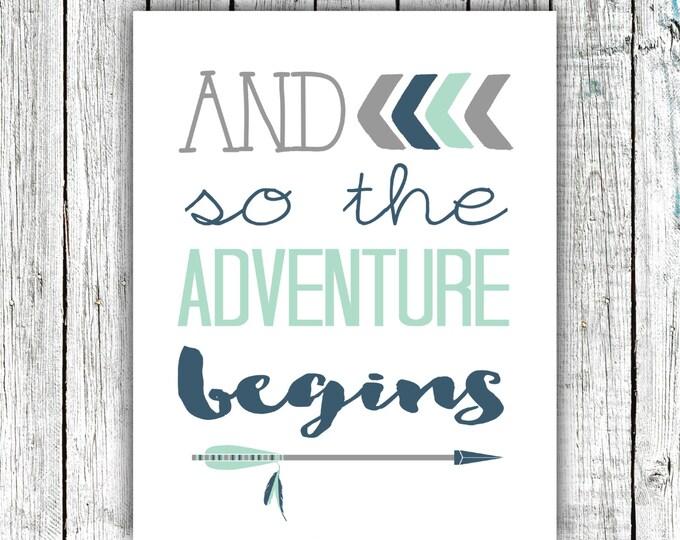 Printable Nursery Art, Nursery Wall Art, Arrows, And so the Adventure Begins, Navy, Mint, 8x10 Digital download #523