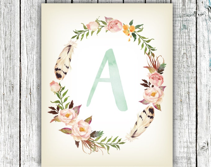 Nursery Art Monogram, Baby Girl, Nursery Wall Art , Floral, Personalized, Digital Download Size 8x10 #7