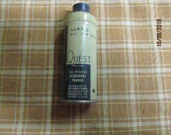 """Vintage Quest Deodorant Powder Chicago Ill Kotex Sample Not for Resale Tin Can Canister Container 3 1/2"""" tall"""