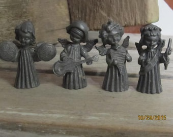 "Vernon Pewter Figurines Set of 4 Musical Angels Cherubs 1 3/4"" tall"