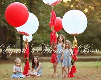 """36"""" Round Latex Balloon with Tassel Tail / Huge Confetti Balloon with Tassels / Biodegradable Latex Huge Balloon / 3' Luxury Balloon"""