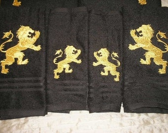 6 piece Set of Bath towels - Lion heraldry - Embroidered