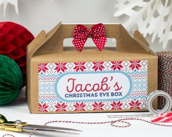Personalised Christmas Eve Gift Box Kraft Party Favour - Xmas Treat Gift Bag with Bow