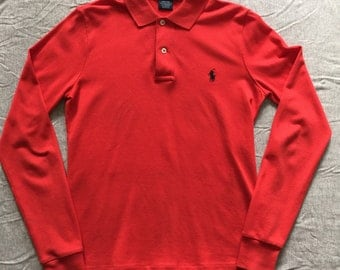 RALPH LAUREN ls red polo / small