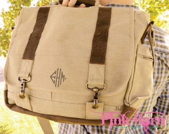Ships in 7 Days Vintage Style Khaki Canvas laptop bag with Leather Trim Groomsmen Gift Personalized