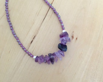 AMETHYST stone chip NECKLACE February birthstone minimalist jewelry Great for layering