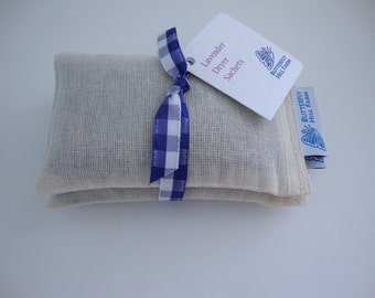 Lavender Dryer Sachets - Two Muslin, Eco-Friendly Dryer Bags,  Laundry Housewarming Gift