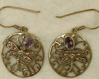 handmade sterling filigree carved dragonfly motif with amethyst crystal dangle earrings