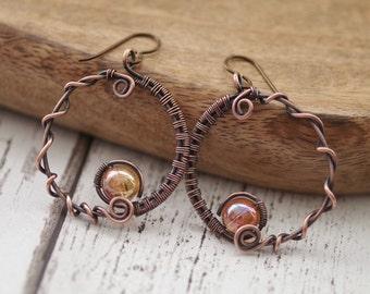 Copper Hoop Earrings, Hammered Copper, Rustic Handmade Earrings, Gift for Her, Boho Earrings, Large Hoops Earrings, Wire Wrapped Earrings