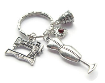 Dress Maker Keychain, Fashion Student Gift, Sewing Machine Keyring, Seamstress, Tailor Present, Craft Lover, Mannequin Charm, Crafter Gifts