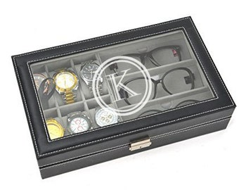 Engraved Sunglass and Watch Box - Holds 6 Watches and 3 Glasses - Black Leather Box With Glass Lid -Jewelry Case Organizer - Reading Glasses