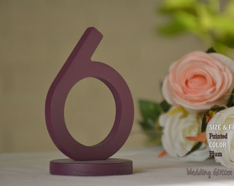 table numbers, plum table number, wedding table numbers