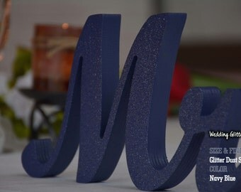 Glitter Dust Silver Sweetheart Table Mr And. Mrs Sign and  Mr and Mrs Table Sign