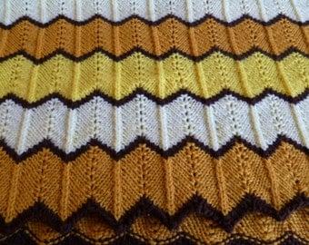 Vintage Crochet Afghan Yellow, Cream, Brown, Handmade