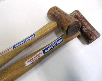 Raw Hide Mallet, Vaughan, Made In England, Professional, 1 1/4 Inch Head, 2 1/2 Inch Wide, Metal, Leather, Cold Connection Work