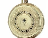 Louis Jacote Locle 14K Yellow Gold Pocket Watch with Flowers and Black Enamel