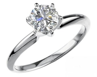 Brilliant Round Cut Genuine Moissanite Solitaire Engagement Ring .75 Carat 6 Prong Design in Solid 14K White Gold
