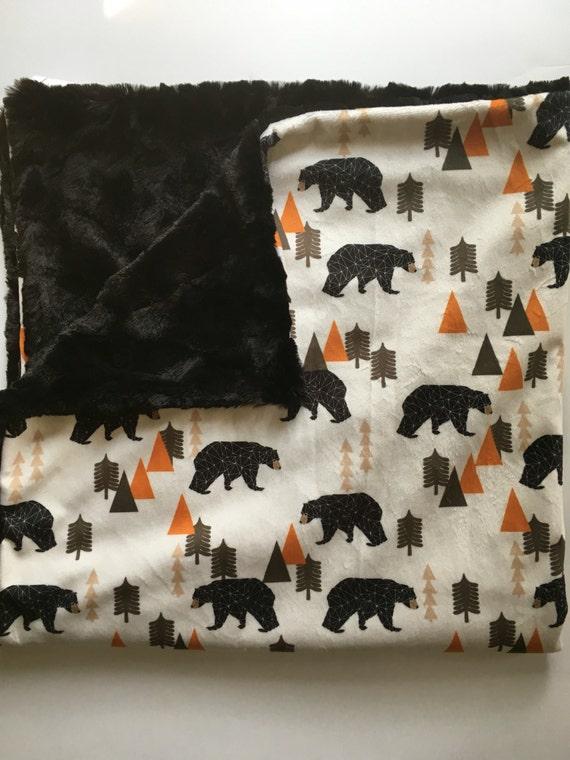 Bear Woodland Forest Animal Baby Blanket Minky Baby Blanket