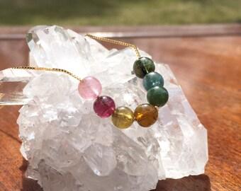 Watermelon tourmaline, Tourmaline, Tiny, Necklace, Birth Stone, seven stone, colorful, gift, Gemstone Necklace