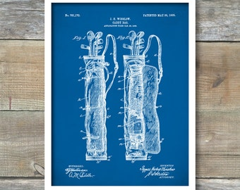 Golf Patent, Golf Bag Patent Poster, Patent Print, Golf Gifts For Men,