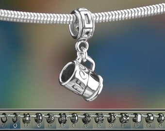 Sterling Silver Coffee Mug Charm or European Style Charm Bracelet .925
