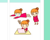 "4x5"" Kawaii Busy Day Label Planner Planning Cute Sticker Stickers for Erin Condren Vertical Life Amelie #0475"