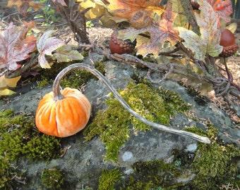 Handmade Pumpkin Orange velvet pumpkin with real dried extra long pumpkin stem.