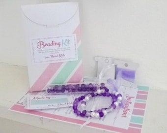 DIY Jewellery Making Kit for Kids - Purple Elastic Stretch Bracelet, Craft Kit, Beading Kit, Beads for Kids, Bracelet Kits
