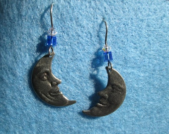 Earrings Man-in-the-Moon Charms and Swarovski Crystals on Sterling Silver Earwires