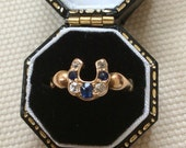 On Hold for Philippa ...Antique 22ct Gold Sapphire and Diamond Horseshoe Ring