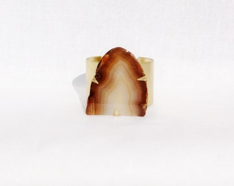 Brown to Grey Agate Slice Cuff Bracelet