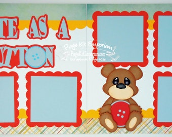 Scrapbook Page Kit Cute As A Button Baby Boy 2 page Scrapbook Layout 88
