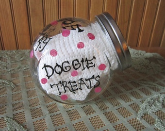 FREE SHIPPING!! Doggie Treats Jar. Will Personalize.Christmas Gift.Paw Prints,Hand Painted. Puppy Only ships within the United States