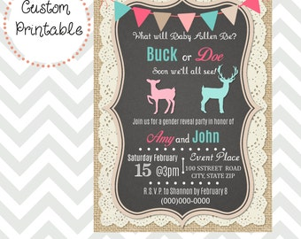 Burlap and Lace Buck or Doe Gender Reveal Party Invitation DIY Printable