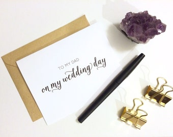 Card - To My Dad On My Wedding Day | Wedding Day Card, Parents Wedding Card, Father In Law, Bride and Groom, Dad Card, Daddy's Girl