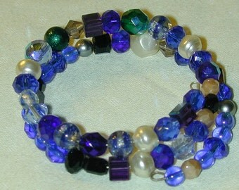 Memory Wire Bracelet Blue & Colored Pearl Glass Beads