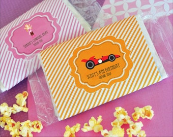Kids Birthday Favors-Popcorn Wrapper Favors-Popcorn Favors-Unique Birthday Party Favors-Personalized Favors (set of 24)