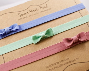 Baby Headband Trio - Seafoam with Bows - Easter Set of 3 Hair Accessories - Seafoam Green, Periwinkle Blue, and Dusty Rose