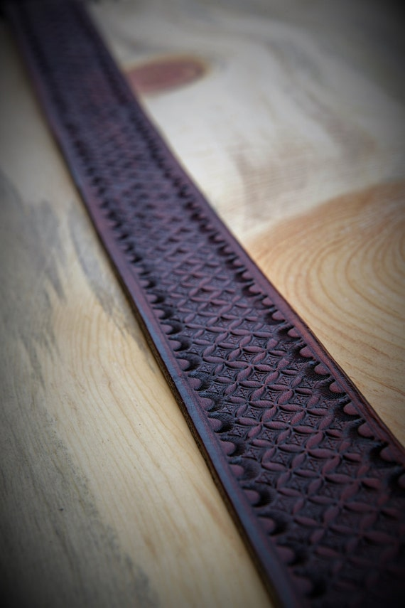 Men's Handmade Leather Flower of Life Belt with Silver Roller Buckle - Custom Made to Order
