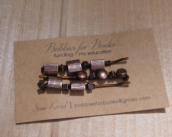 Bronze Tree Beaded Bobby Pins