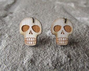 Wood Earrings - Skull Stud Earring