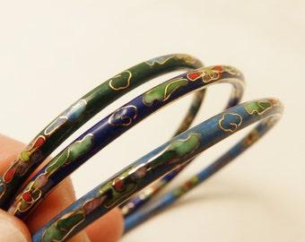 Vintage Blue Cloisonne Bracelets