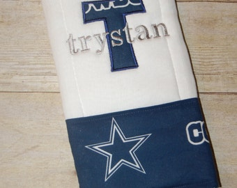 Dallas Cowboys 6 ply burp cloth personalized with applique and name or I drool silver and blue baby shower gift